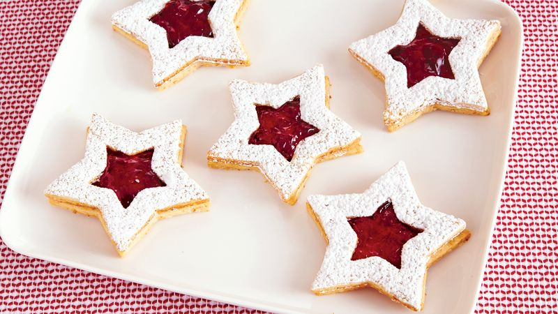 Christmas Star Cookies  Linzer Star Christmas Cookies Recipe BettyCrocker