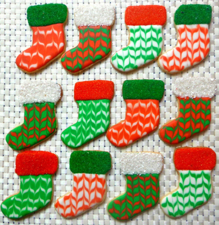 Christmas Stocking Cookies  Christmas Stocking Sugar Cookies Set of Six by