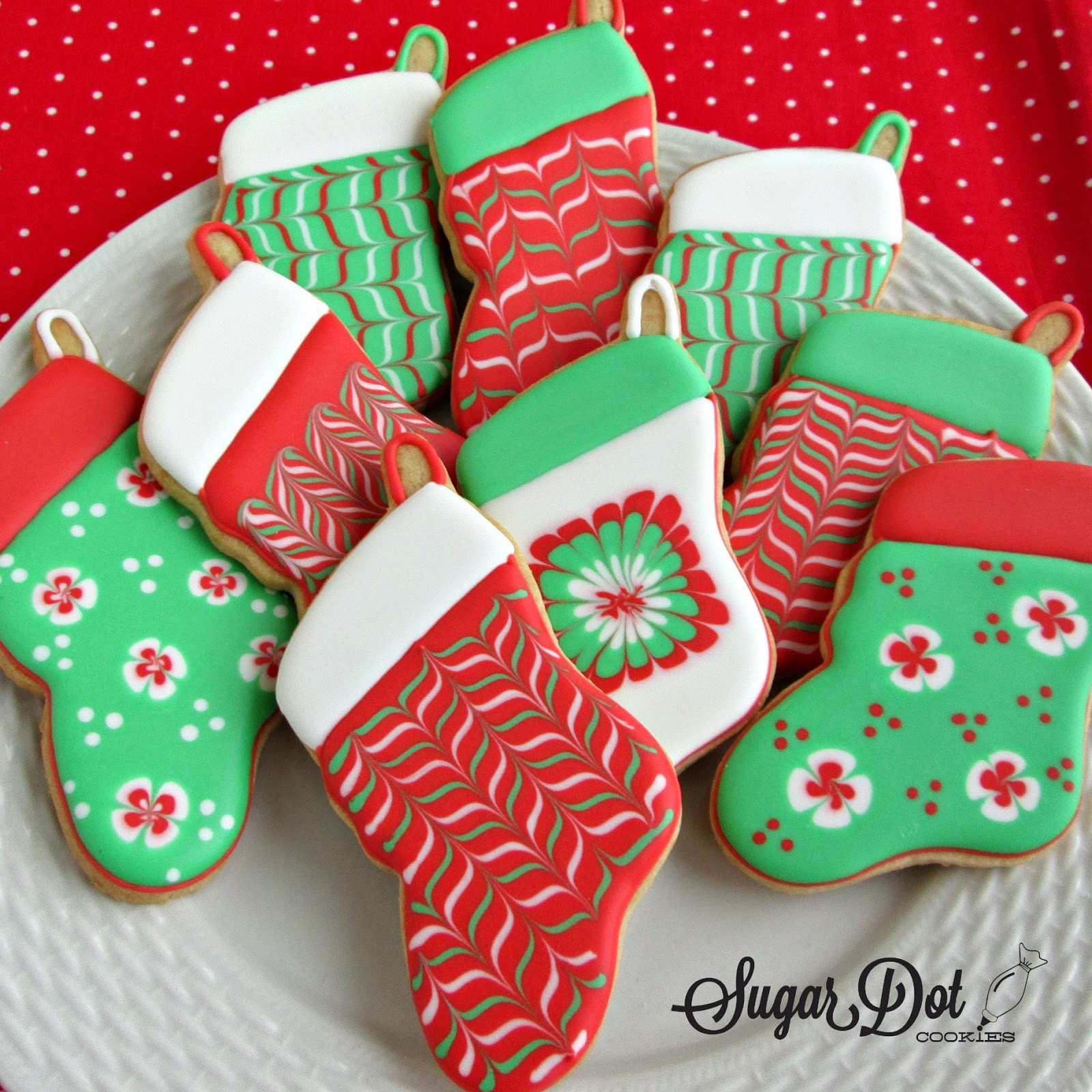 Christmas Stocking Cookies  Christmas Trees sprinkles decorated snow covered A