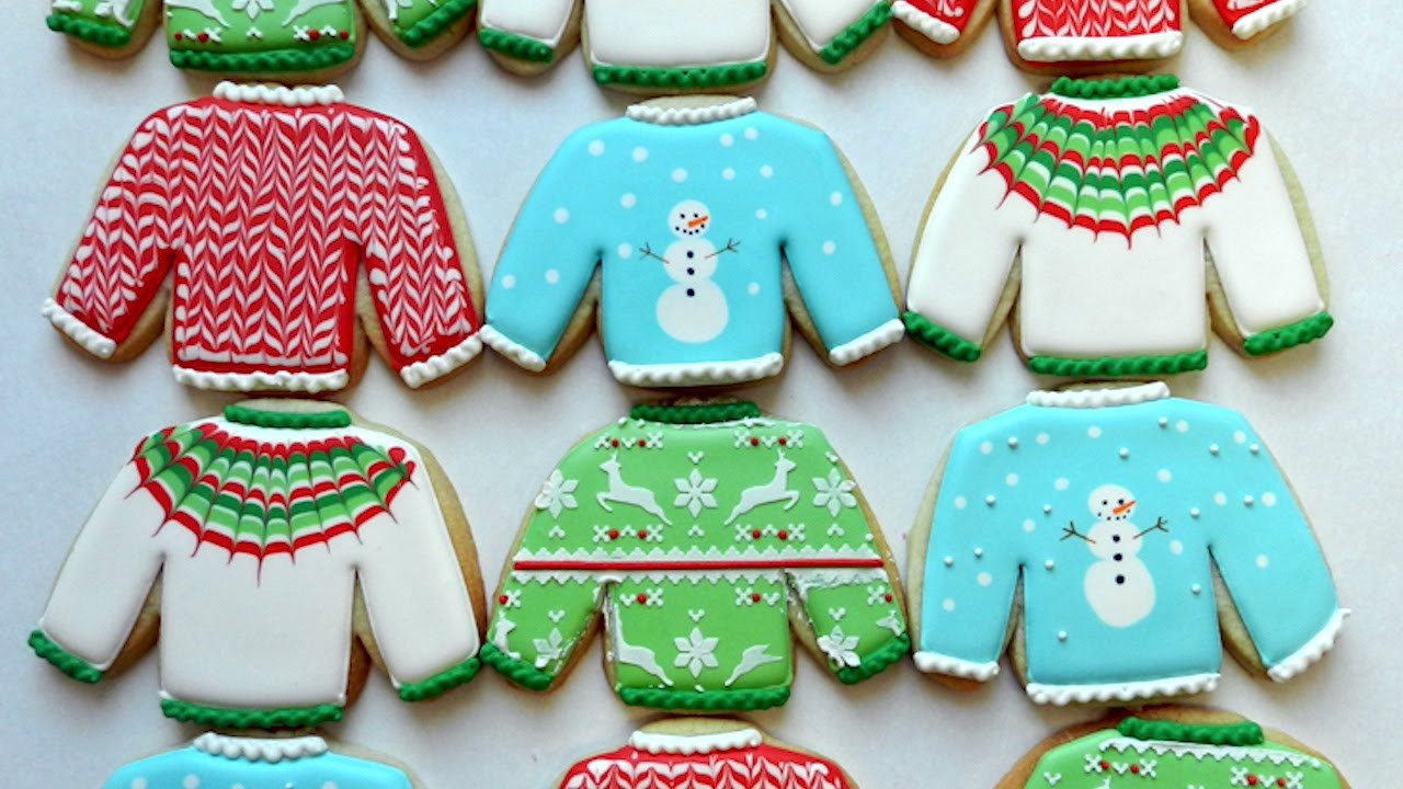 Christmas Sweater Cookies  How to Decorate Ugly Christmas Sweater Cookies