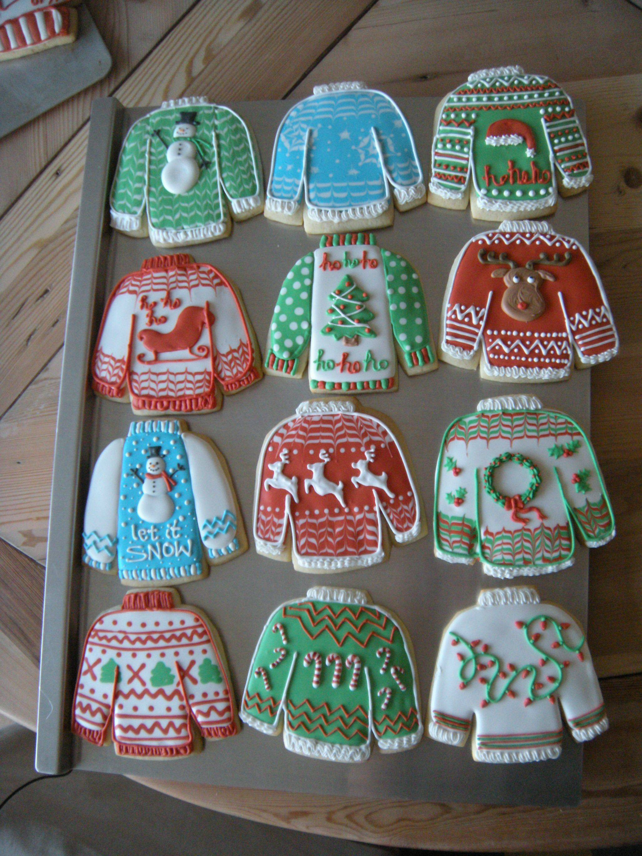 """Christmas Sweater Cookies  I decided to try some """"ugly Christmas sweater"""" cookies"""