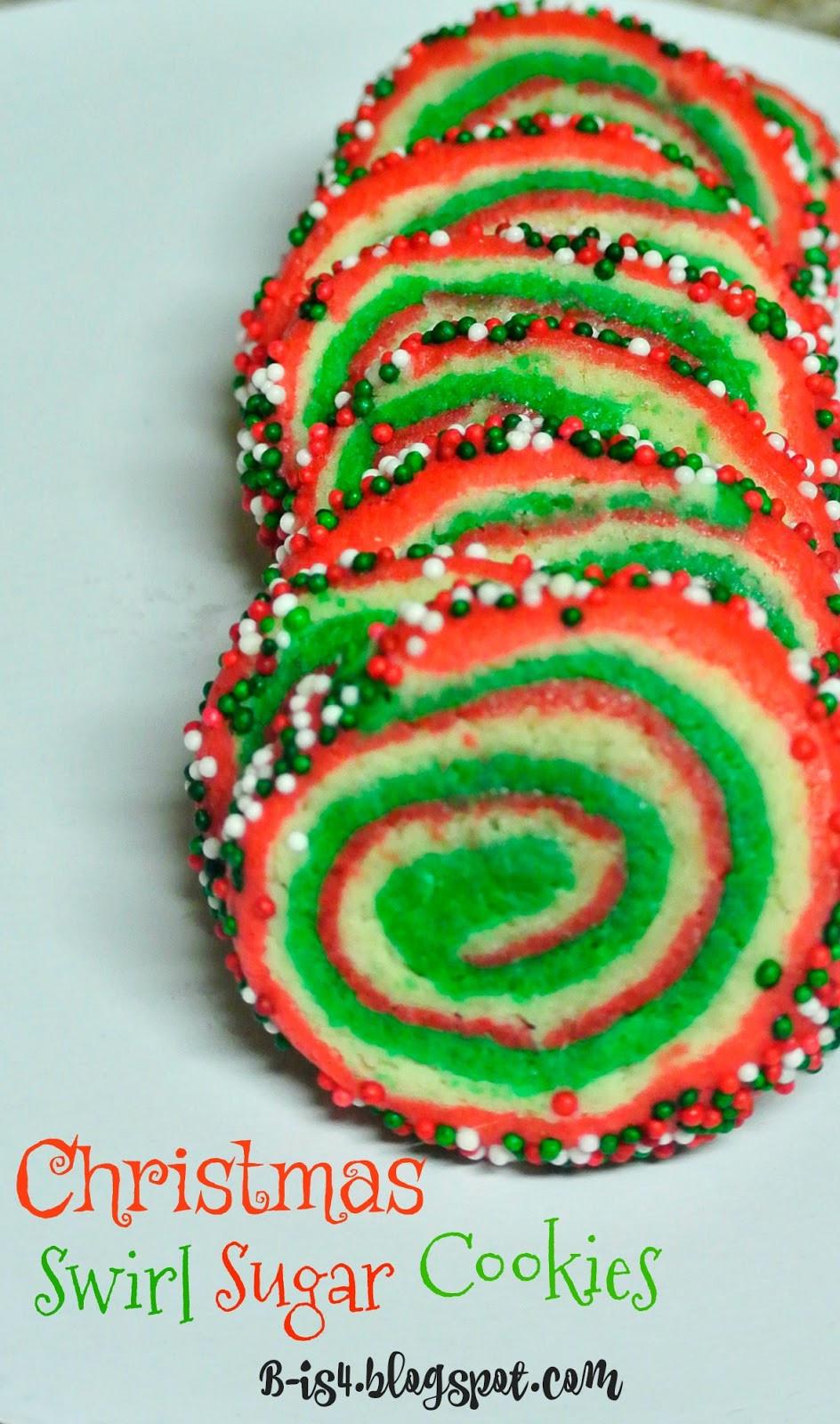 Christmas Swirl Cookies  B is 4 Christmas Swirl Sugar Cookies