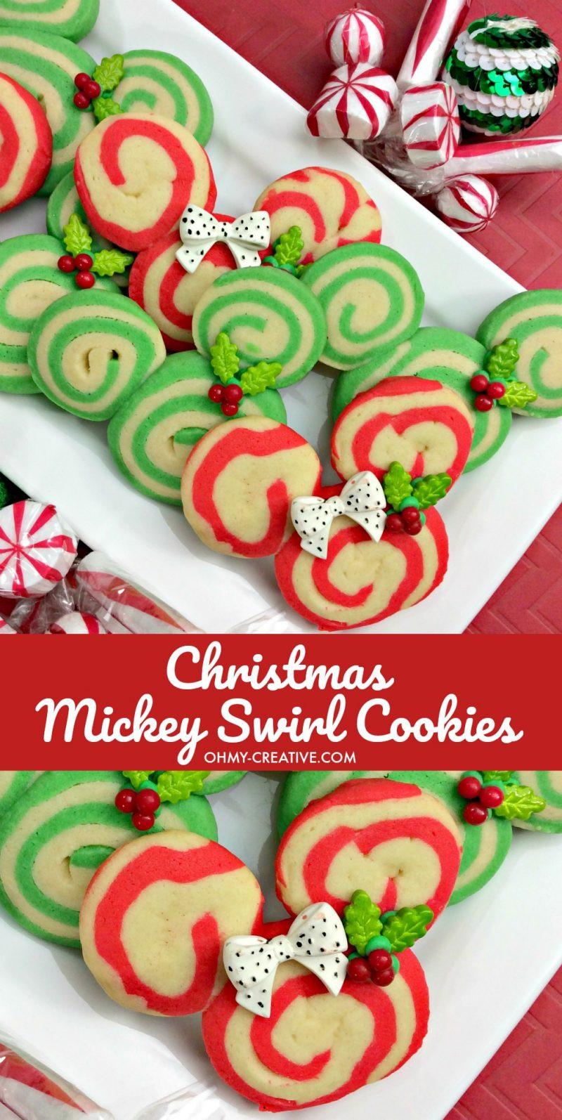 Christmas Swirl Sugar Cookies  Mickey Christmas Swirl Cookies Oh My Creative