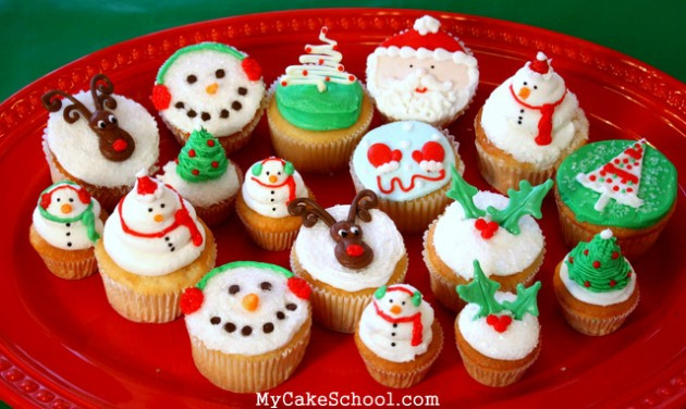 Christmas Themed Cupcakes  Christmas Cupcakes A Video Tutorial