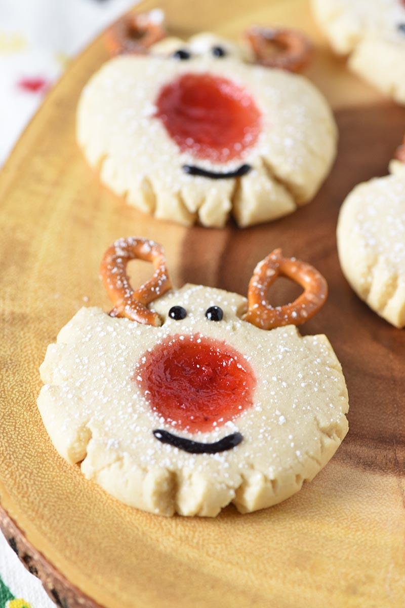 Christmas Thumbprint Cookies  Red Nosed Reindeer Thumbprint Cookies Adventures of Mel
