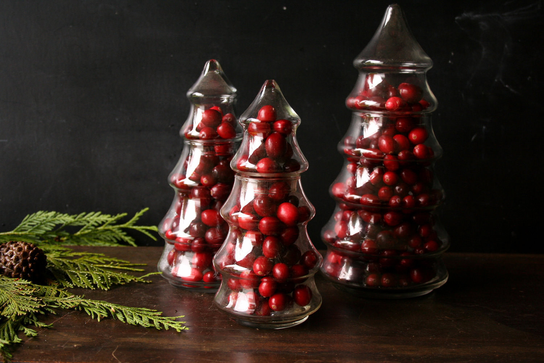 Christmas Tree Candy Jar  Three Glass Pine Tree Candy Jar Christmas Centerpiece From