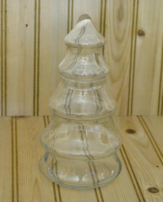 Christmas Tree Candy Jar  Vintage Glass Christmas Tree Jar by grannysbackporchvint
