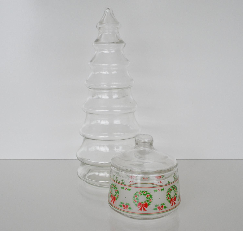 Christmas Tree Candy Jar  Vintage Christmas Tree Apothecary Jars Candy Jars Christmas
