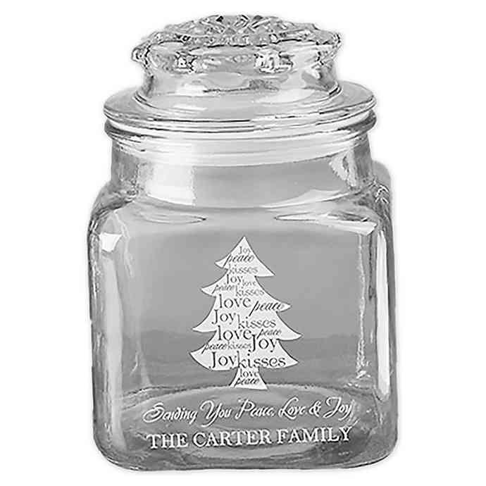 Christmas Tree Candy Jar  Christmas Tree Engraved Glass Candy Jar