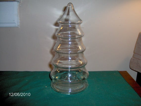 Christmas Tree Candy Jar  Glass Christmas Tree Candy Jar by thefunnybunny on Etsy