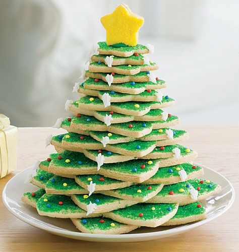 Christmas Tree Cookies Recipe  Star shaped cookie cutters make a tree So cute From