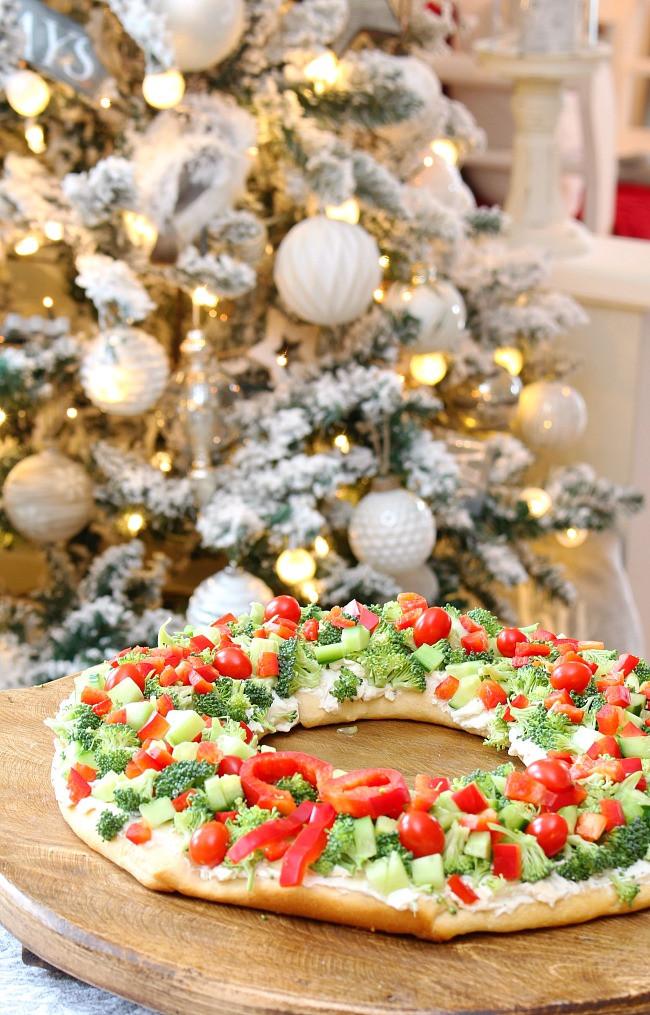 Christmas Tree Veggie Pizza  Christmas Appetizer Christmas Wreath Veggie Pizza
