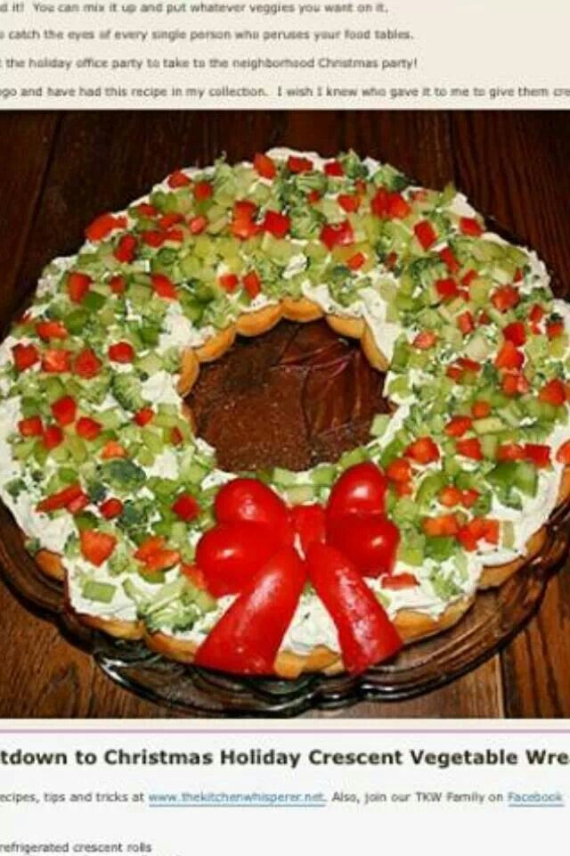 Christmas Tree Veggie Pizza  Christmas ve able pizza wreath Recipes To Try