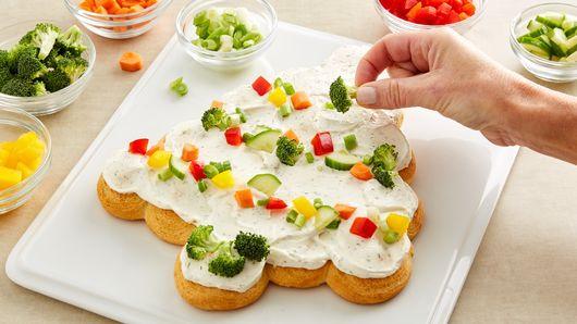 Christmas Tree Veggie Pizza  Tree Shaped Crescent Veggie Appetizers Recipe Pillsbury