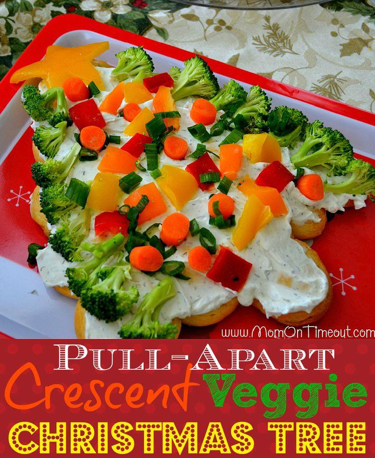 Christmas Tree Veggie Pizza  Crescent Veggie Christmas Tree Recipe