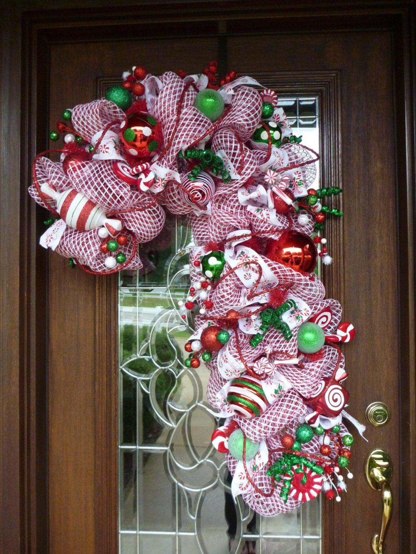 Christmas Wreath Candy  Deco Mesh CANDY CANE CHRISTMAS Wreath