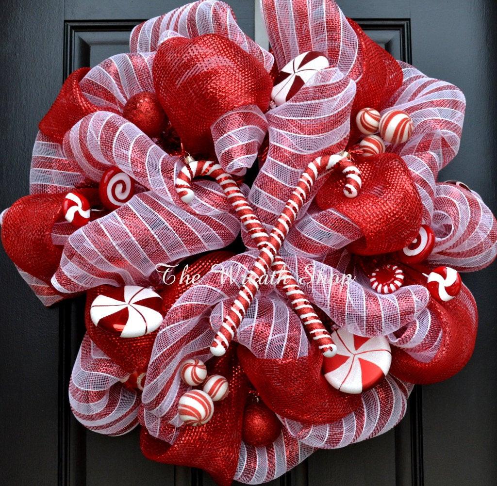 Christmas Wreath Candy  Candy Cane Christmas Wreath Deco Mesh Christmas Wreath