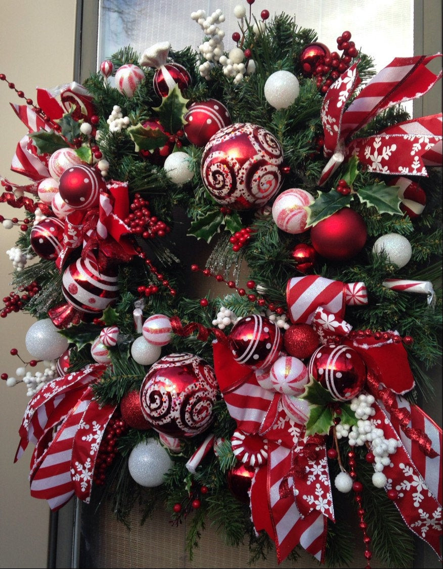 Christmas Wreath Candy  PEPPERMINT HOLIDAY Whimsical Christmas Holiday Candy Wreath
