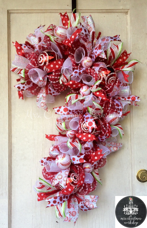 Christmas Wreath Candy  Candy cane Christmas wreath deco mesh wreath candy wreath