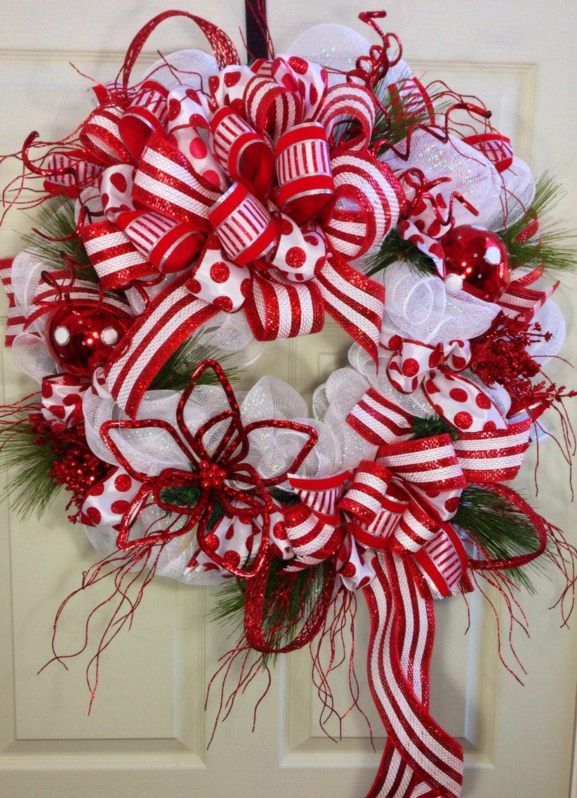 Christmas Wreath Candy  Candy Cane Mesh Christmas Wreath