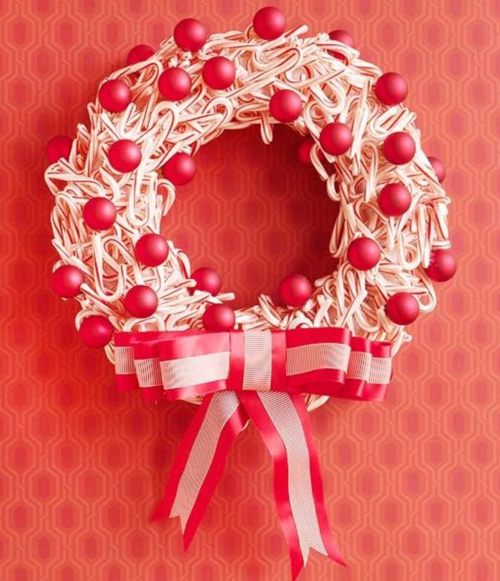 Christmas Wreath Candy  Candy cane wreath Christmas