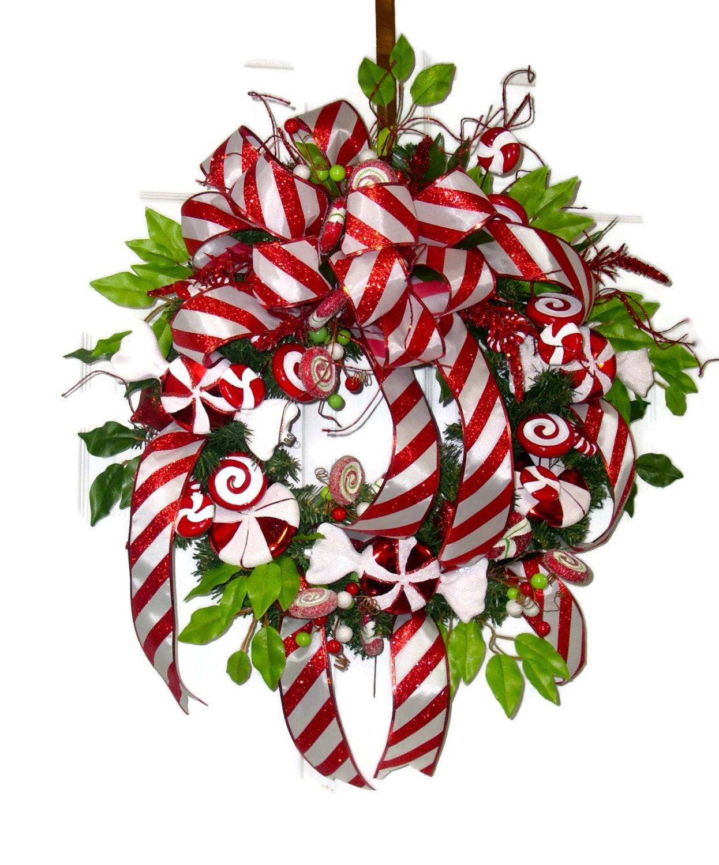 Christmas Wreath Candy  Candy Cane Christmas Wreath Red and White Christmas Wreath
