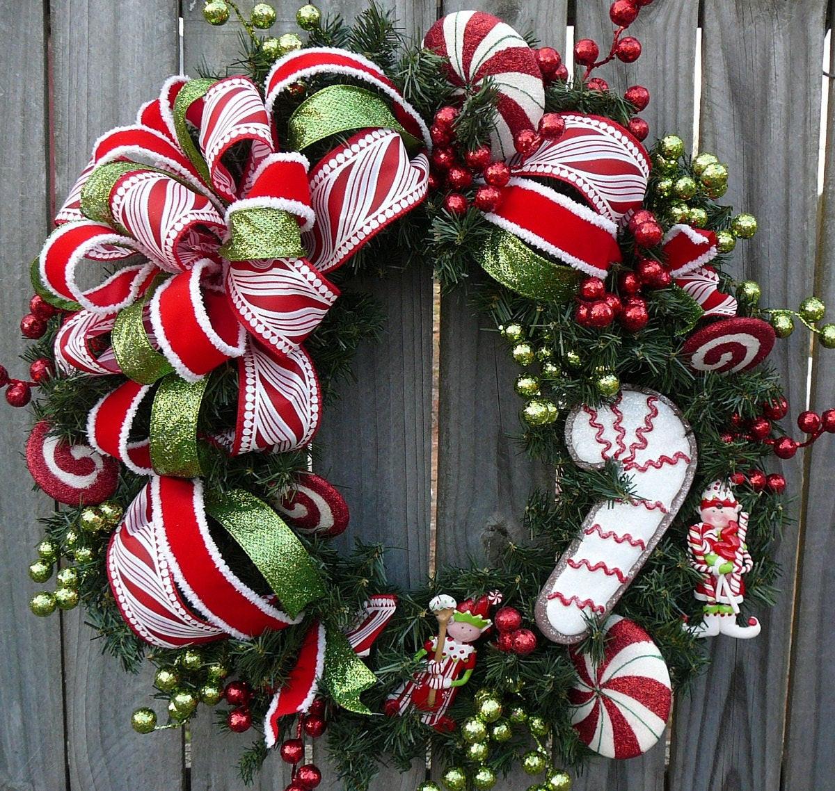 Christmas Wreath Candy  Christmas Holiday Wreath Candy Cane Wreath for Christmas