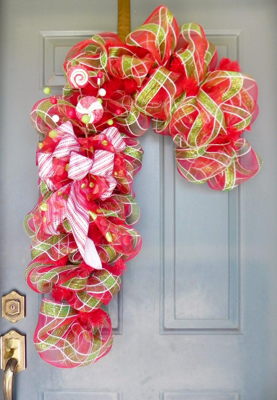 Christmas Wreath Candy  Christmas Wreath Candy Cane Wreath Deco Mesh Wreath