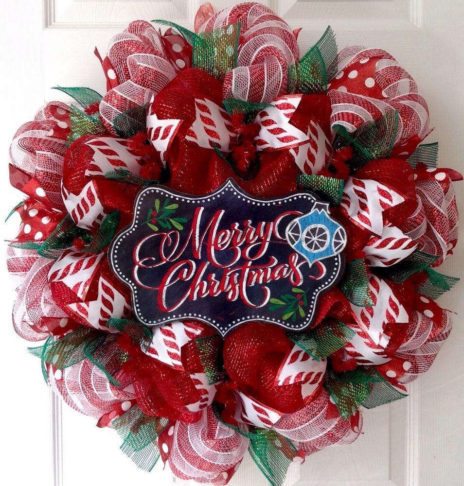 Christmas Wreath Candy  Merry Christmas Candy Cane Striped Wreath Handmade Deco