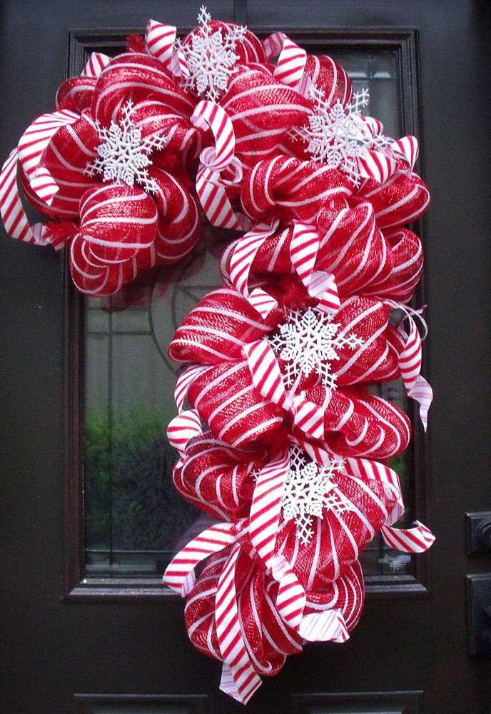 Christmas Wreath Candy  Deco Mesh Candy Cane Wreath Christmas Mesh Wreaths Christmas