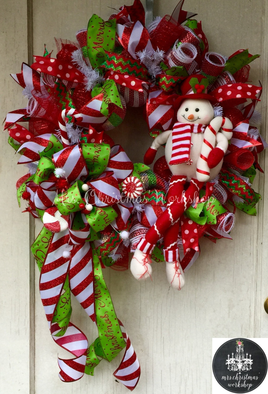 Christmas Wreath Candy  Candy cane Christmas wreath deco mesh wreath snowman candy