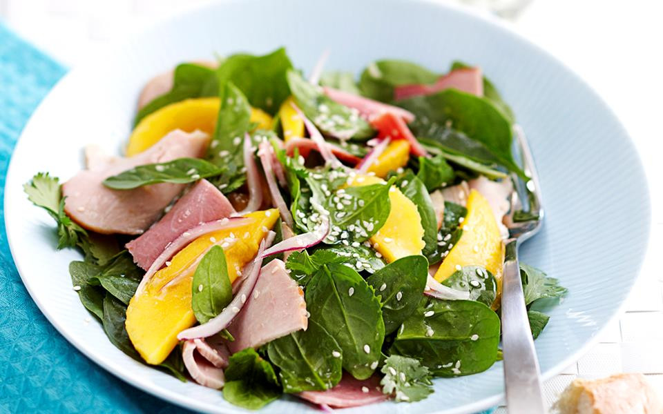 Cold Salads For Thanksgiving  Cold turkey and ham salad with mango and honey dressing