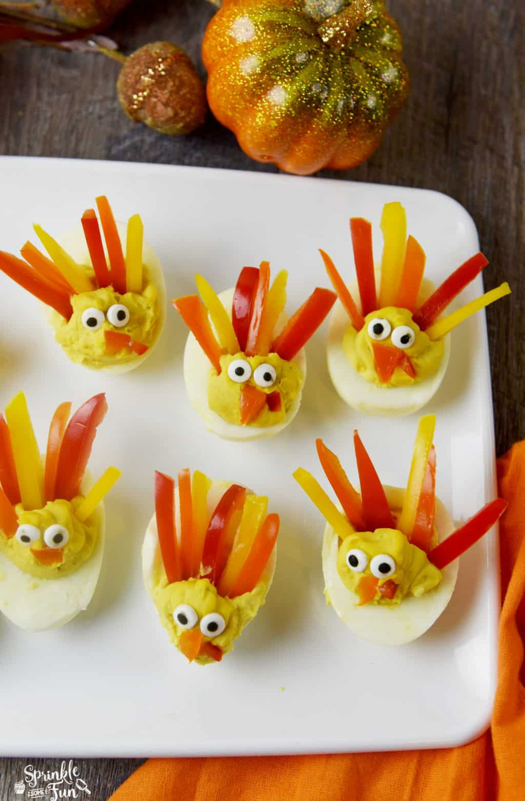 Deviled Eggs For Thanksgiving  These Deviled Egg Turkeys are a cute way to dress up your