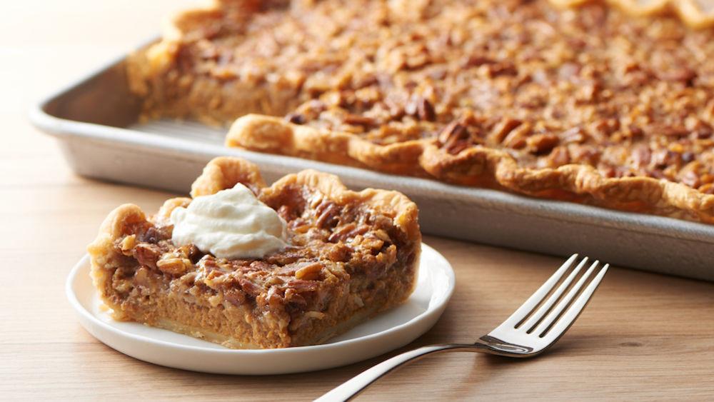 Easy Thanksgiving Pies  Pumpkin Pecan Slab Pie recipe from Pillsbury