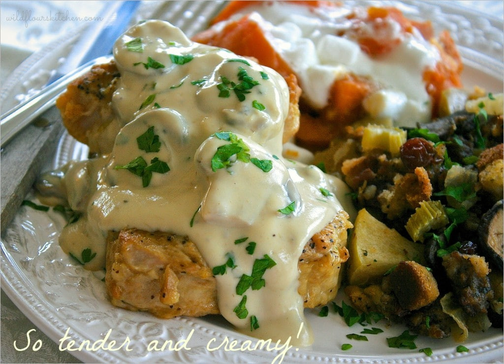 Fall Apart Pork Chops  Fall Apart Tender Pork Loin Chops with Mushroom Cream