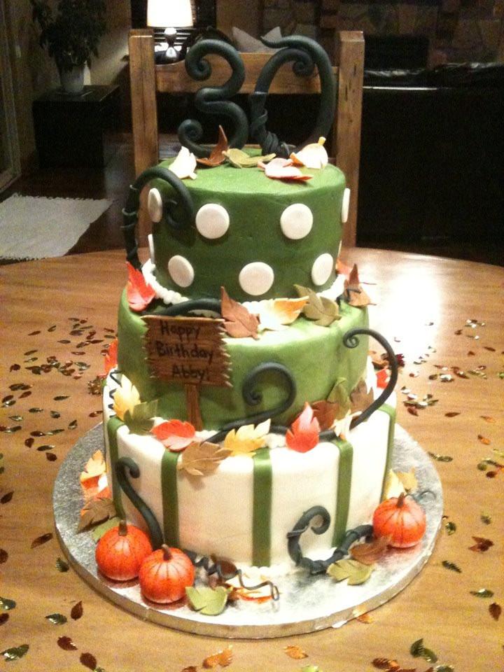Fall Birthday Cake  Autumn 30th Birthday Cake