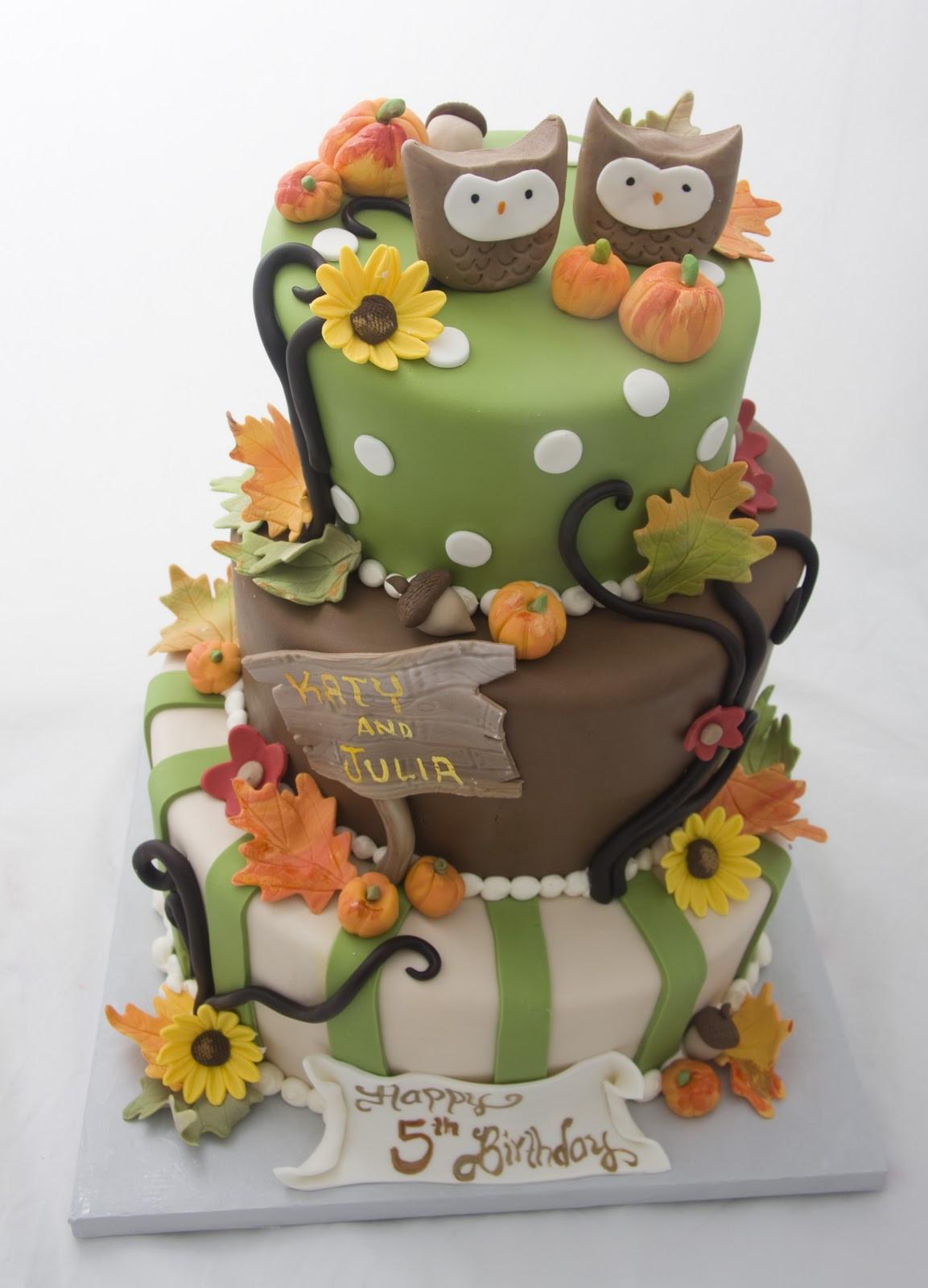 Fall Birthday Cake  The Crimson Cake Blog Twin Owl Fall Birthday Cake