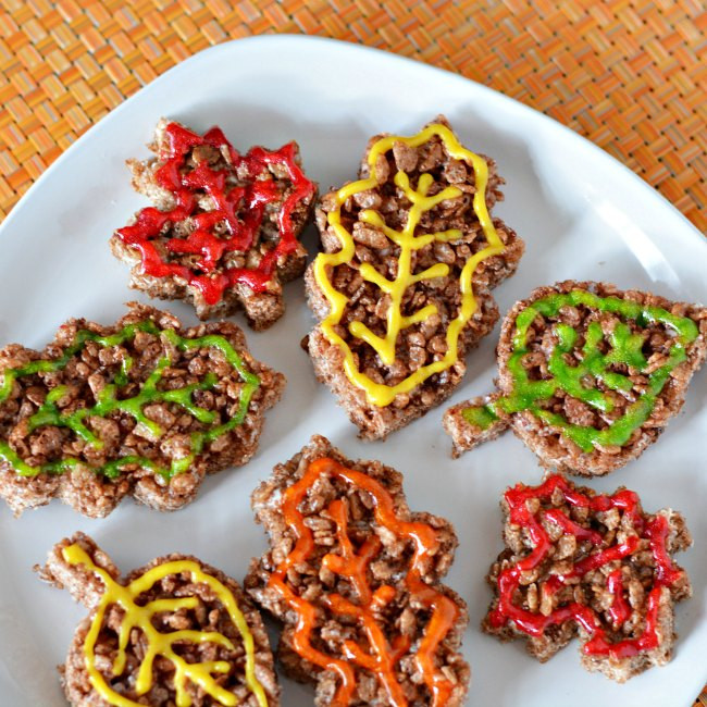 Fall Desserts For Kids  Autumn Leaves Rice Krispies Treats