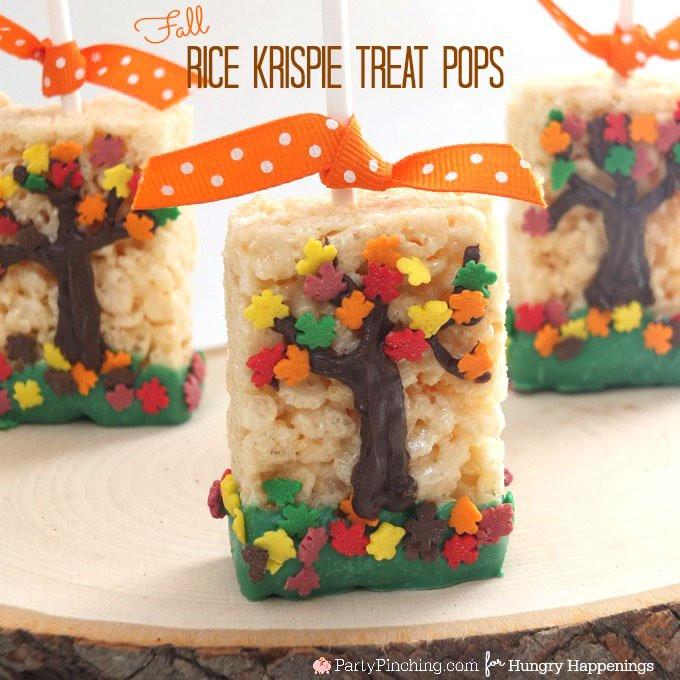 Fall Desserts For Kids  Fall Tree Rice Krispie Treats Fun Thanksgiving Dessert