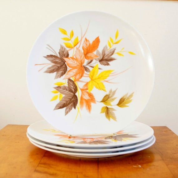Fall Dinner Plates  Autumn Leaves Plates Melamine Dinner Plates Texas Ware