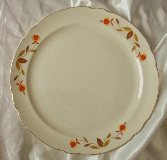 Fall Dinner Plates  5 Five Hall Autumn Leaf 10 1 4 Dinner Plates by mutzali on