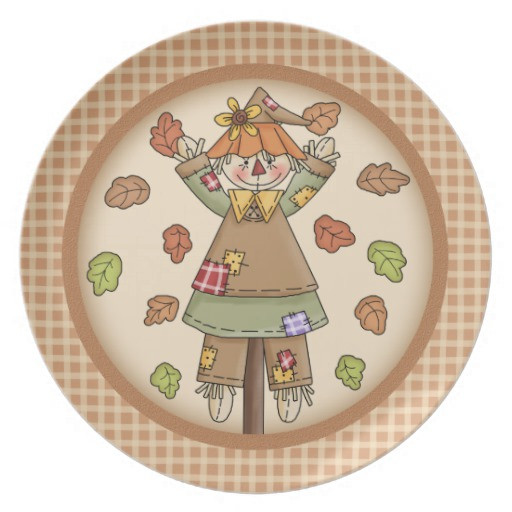 Fall Dinner Plates  Whimsical Fall or Autumn Scarecrow Plaid Pattern Dinner