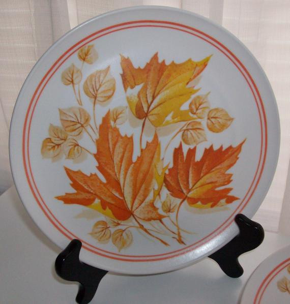 Fall Dinner Plates  7 Orange Autumn Leaf Dinner Plates
