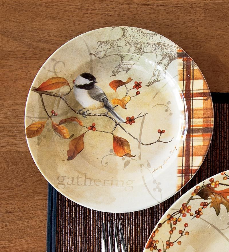 Fall Dinner Plates  Autumn Dessert Plates Set of 4 Autumn