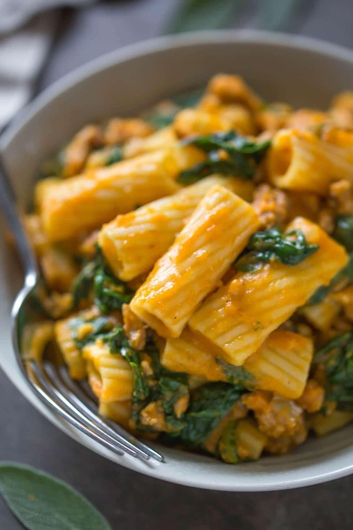 Fall Italian Recipes  Pumpkin Rigatoni with Italian Sausage & Spinach Simply