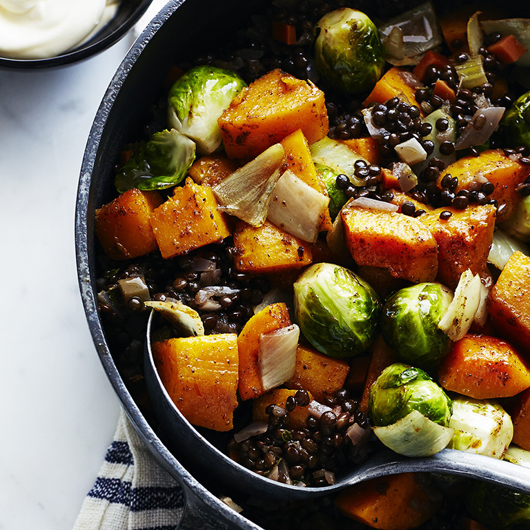 Fall Roasted Vegetables  Roasted Fall Ve ables with Lentils and Spices Recipe
