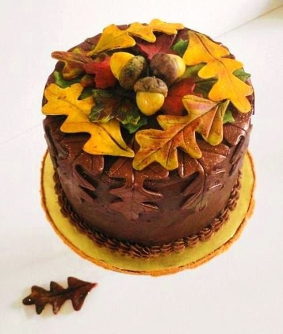 Fall Themed Birthday Cake  Autumn Leaves Fall Birthday Cake CakeCentral