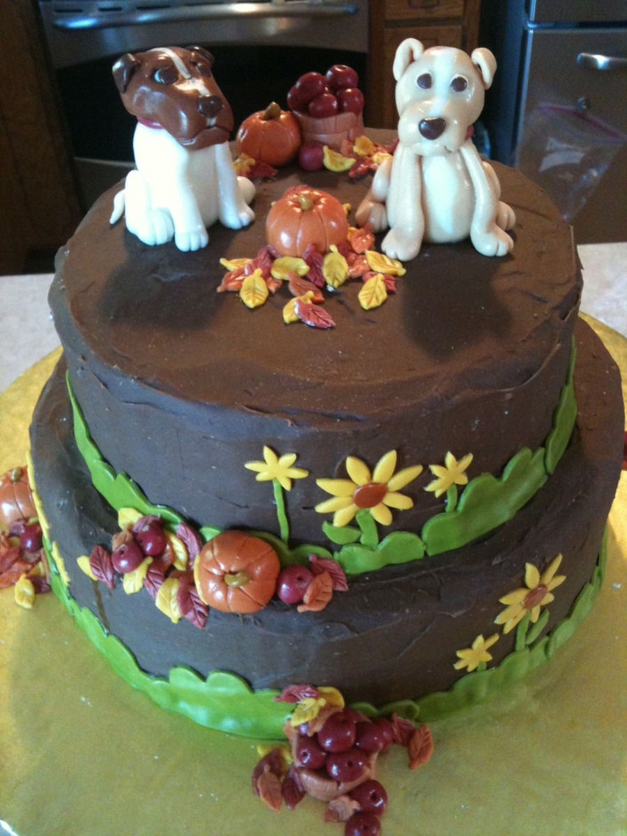 Fall Themed Birthday Cake  Fall Themed Birthday Cake With Dogs Vegan