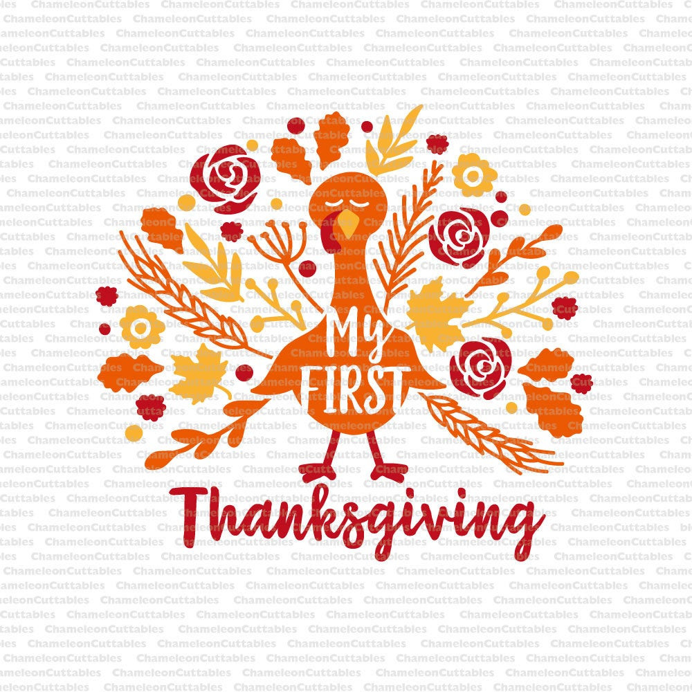 First Thanksgiving Turkey  My first Thanksgiving turkey svg flowers baby girl