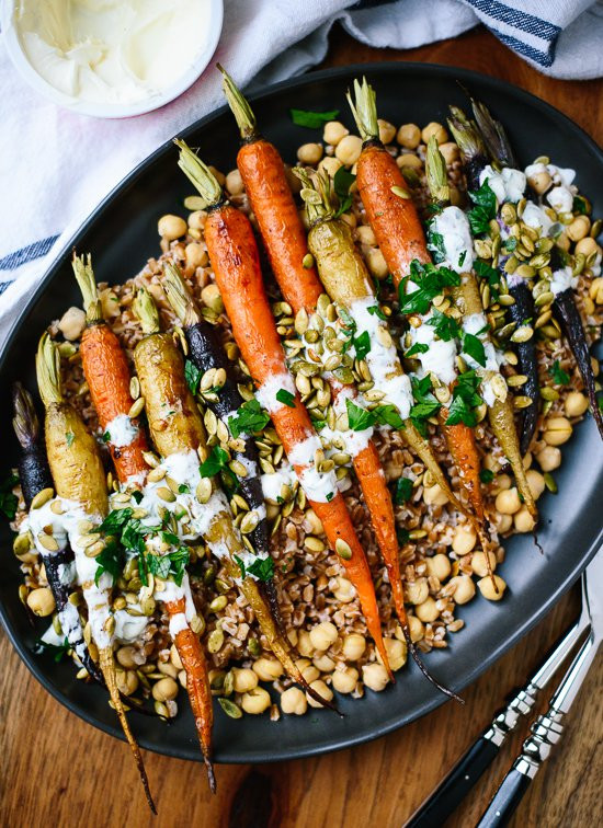 Gourmet Vegetarian Thanksgiving Recipes  Roasted Carrots with Farro & Chickpeas Cookie and Kate